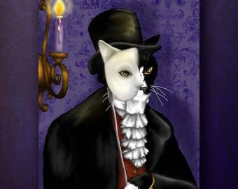 Phantom Cat Art, Tuxedo Cat Masquerade, Victorian Gentleman 8x10 Fine Art Print