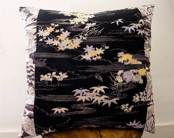 Black & White Graphic Grey Scenic Floral Willow Garden Vintage Japanese Chirimen Silk Kimono Fabric Pillow Cushion Cover 3