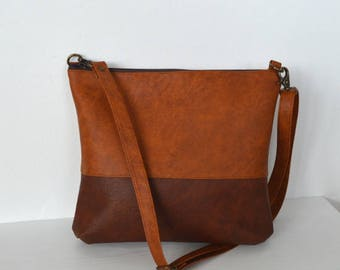 Colorblock Brown Crossbody Bag, Everyday Purse, Faux Leather Shoulder Bag