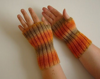 Wool Knitted burnt orange Mittens Fingerless Gloves Hand Warmers