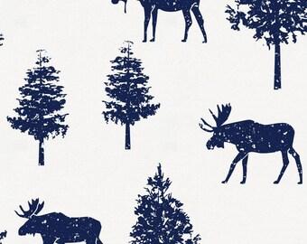 Navy Moose Organic Fabric - By The Yard - Boy / Girl / Gender Neutral