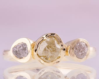 Raw Diamonds Engagement Ring, Raw Diamond Ring, Three stone ring, Rough Diamond engagement ring, three stone engagement ring, bezel set raw