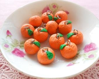 6pcs Orange Charms