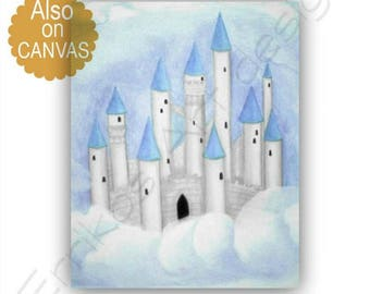 Castle Nursery, Cinderella's Castle, Princess Decor, Disney inspired, Princess Wall Art, Princess Nursery, Castle art print, Castle wall art