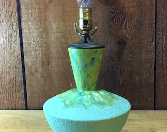 Mid-Century Modern Green Drip Glaze Lamp