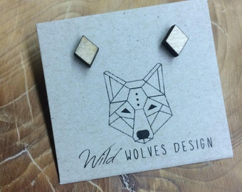 Wood Diamond Cut Stud Earrings