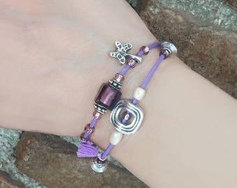 Layered bracelet, Stacking bracelet, Leather bracelet, Double Strand, Dainty bracelet, Everyday bracelet, Adjustable bracelet/Christmas gift