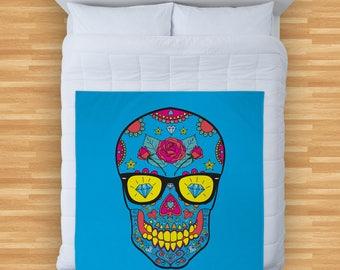 Blue Candy Skull Design Soft Fleece Blanket Cover Throw Over Sofa Bed Blanket