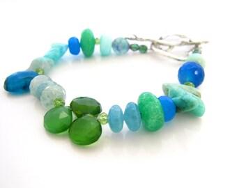 Multi Gemstone Bracelet, Blue and Green Gemstones, Ocean Shades, Blue Stones, Soft Colors Bracelet, Woodland Toggle