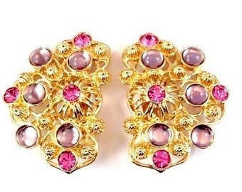 Jose Barrera Marbella Earrings - Gold Tone with Pink and Lavender Stones - S2255