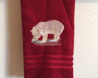 Embroidered ~POLAR BEAR~ Kitchen Bath Hand Towel