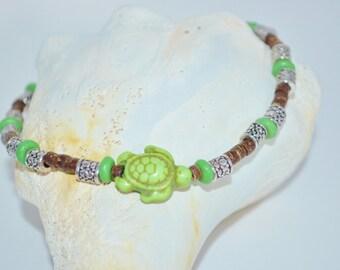 Ankle Bracelet Green Sea Turtle, Coconut Bead & Sea Turtle Anklet, Wood Bead with Sea Turtles Anklet