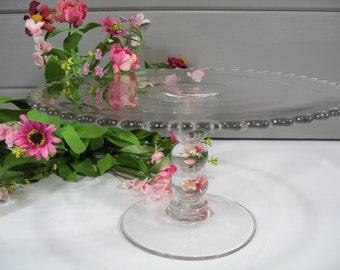 Crystal Cake Stand, Candlewick Plate, Dessert Stand, Wedding Decor
