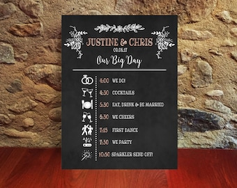 Printable Wedding timeline, Chalkboard Wedding sign, Downloadable prints, Personalized wedding, Wedding itinerary, order of events