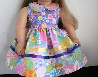 American Girl Size Doll Dress for Easter includes shoes and headband,  Spring Dress with shoes and headband for  18 inch Dolls