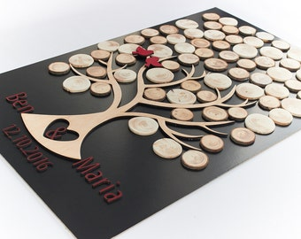 Fast shipping 3d wedding guest book Natural wood wedding guest book Rustic wedding guest book alternatives Wood Wedding tree book for guest