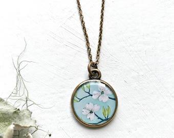 Dogwood Necklace, Original Artwork, Springtime Jewelry, Dogwood Jewelry, Nature Tree Necklace, Nature Jewelry