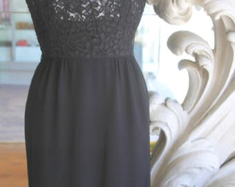 Vintage 1950s Andrew Arkur Little Black Lacy Wiggle Dress 36 Bust