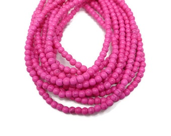 Pink Howlite - 6mm Round Bead - Full Strand - 75 beads - Hot Pink Bright - synthetic turquoise - neon