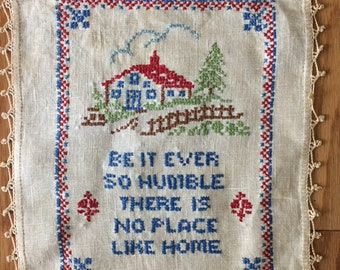 Vintage Cross Stitch Sampler - There Is No Place Like Home