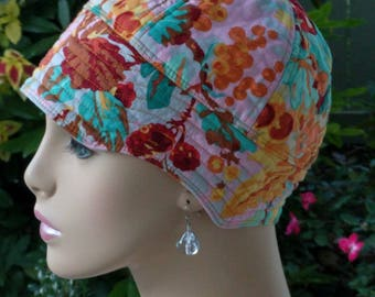 Women's Chemo Hat Soft Cotton Cancer Cap Pink Floral Hair Loss Hat reversible Small/Medium