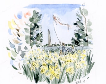 "Original ""Stop and Smell the Daffodils"" watercolor painting, 5x5"