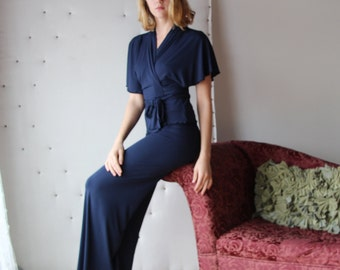 bamboo pajama set including lounge pants and bed jacket - CATHEDRAL -  bamboo sleepwear and lingerie range - made to order