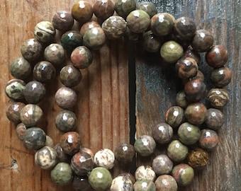 Faceted Australian Agate | Spiritual Junkies | Stackable | Yoga + Meditation | Single Mala Bracelet