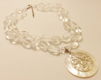 Sterling Silver Glass Bead Mother of Pearl Pendant Necklace