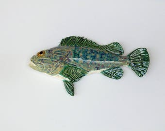 Sculpin ceramic fish art decorative wall hanging