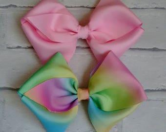"Set of 2 Girls large 6"" Hair Bows Pink & Pastel Rainbow like JoJo Siwa Bows Signature Keeper Dance Moms School Party Gift Christmas Bling"
