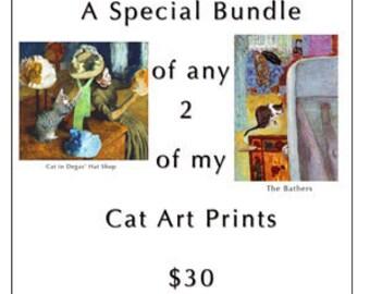 Cat art print bundle- Any 2 of my cat art prints for 30 dollars