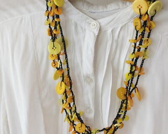 Yellow Button Necklace / Button Jewelry / Multi Strand Necklace / Yellow Necklace / Jewelry / Crochet Necklace / Buttons / Yellow