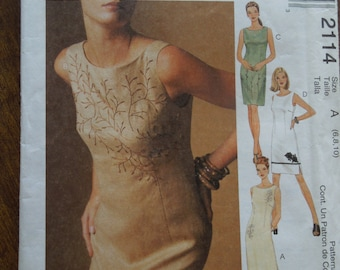 McCalls 2114, sizes varies, misses, womens, lined dress, UNCUT sewing pattern, craft supplies, petite-able