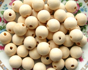 14mm Unfinished Wood Beads - 50 Pieces - Large Unfinished Wood Beads, Round Natural Wood Beads, 14mm Light Wooden Beads (WBD0129)