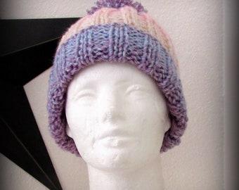 Knit hat - hand knit hat - pom pom hat - striped knit hat - pink knit hat -lavender knit hat - cream knit hat - hat - knit pom pom hat