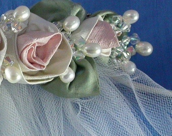 Silk Shantung Rose Bridal Headpiece with Veil / White and Pink Silk Rose Comb / Floral Wreath Comb with Detatchable Veil