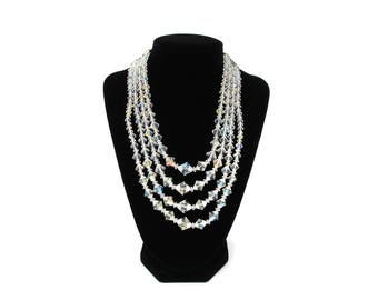 Multi Strand Crystal Necklace, 4 Strand Aurora Borealis Crystal Necklace, 16 Inch, 1950s Jewelry, AB Crystal, Vintage Jewelry