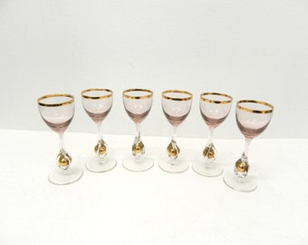 1950s Glass Cordials...Set of 6 Cordials...Czech Crystal Stemware...Pink Golden Ball Cordials...Atlas Pattern...Mid Century Barware