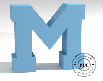 Printable DIY template (PDF).  Letter M low poly paper model template. 3D paper lettering. Origami. Papercraft. Cardboard alphabet.