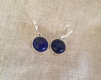 Silver lapis lazuli Earrings, lapis lazuli Earrings, silver Leverback Earrings, Bridal Jewelry, blue stone earrings, lapis earrings,