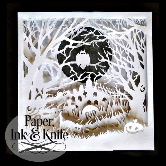 Shadow box 3D Layered papercutting template. Halloween Spooky
