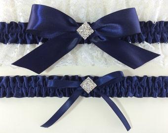 Navy Blue & White Bridal Wedding Garter Set