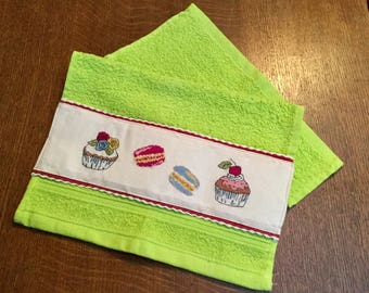 Guest Towel embroidered Macarons and cakes cups