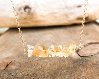 November Birthstone Necklace - Raw Citrine Necklace - Rough Citrine Necklace  - Scorpio Gift for Her - Raw Crystal Necklace