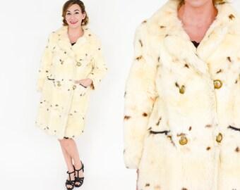 60s Rabbit Fur Coat | Creme Fur Double Breasted Fur | Medium