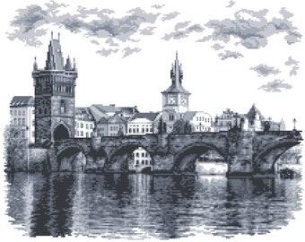 Charles Bridge Cross Stitch Pattern, Prague  Digital  Pdf ,Graphics Counted Cross Stitch Pattern  PDF  , Painting,  Easy