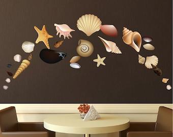 Seashell Wall Mural Decals, Seashell Design Pack Decals, Seashell Wall Art Sticker, Seashell Peel and Stick Decals, Removable Shell Art, d41