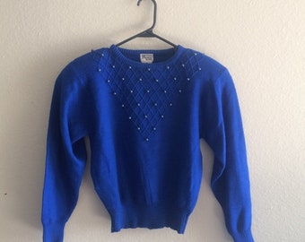 80s vintage high quality diamond-patterned bead detail crew neck women's pullover sweater - size Petite Medium