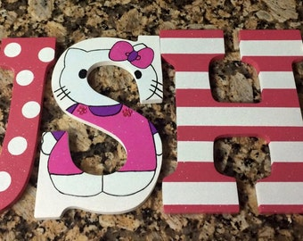 Girl Monogram Letters,Hello Kitty Monogram Letters, Girls Wall Decor,Cute Monogram Letters, Wood Letters, Girls Room Decor